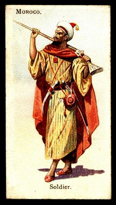 """Moroccan Soldier - Wills's Cigarettes """"Soldiers of the World"""" (series of 100 issued in African Culture, African History, Military Costumes, Military Uniforms, Army History, Army Girlfriend, Military Art, Military Deployment, Colonial"""