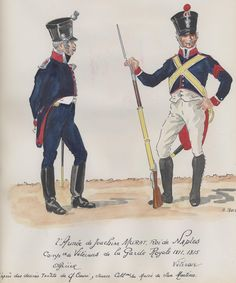 Garde Royale, Company of Veterans, Officer & Veteran, by H. Kingdom Of Naples, Kingdom Of Italy, Two Sicilies, Military Art, Military Uniforms, Italian Army, National History, French Empire, French Revolution