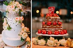 When one cake is just not enough, you need two! Both of these are great, unique but personalized cakes! || Stephanie Harvey & Collin Benton wedding in Fayetteville