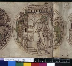 Roundel of Guthlac whipping the beastly demons who have invaded his house.