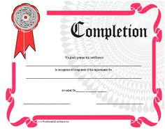 Certificate Of Completion Printable Certificate  Printable Certificates Of Completion