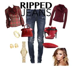 """Ripped Jeans"" by ela-gashi ❤ liked on Polyvore featuring mode, Betsey Johnson, Balmain, MuuBaa, COSTUME NATIONAL, Golden Goose, Gucci, Bulgari, Cartier et Burberry"