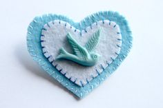 Felt Love Bird Brooch in Blue and White by sewddelicious on Etsy.