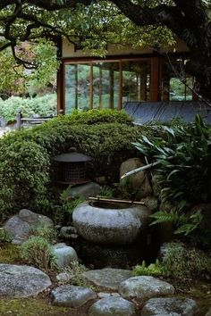 Japanese garden -- I like the way they used the leafy hedge behind the lantern to create a division of space. Japanese garden -- I like the way they used the leafy hedge behind the lantern to create a division of space. Japanese Garden Landscape, Small Japanese Garden, Japanese Garden Design, Japanese Gardens, Japanese Garden Lighting, Aesthetic Couple, Patio Layout, Bonsai Garden, Garden Plants
