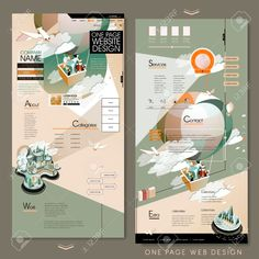 adorable one page website template design with hot air balloon tourism concept Graphic Design Cv, Web Design, Book Design, Layout Design, Site Design, Presentation Board Design, Architecture Presentation Board, Interior Presentation, Logo Design Tutorial