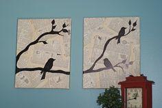 graphisch Leinwandbilder selber gestalten diy  vogel zeitung
