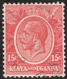 "Kenya and Uganda 1922-27 Scott 24 15c carmine rose ""King George V"""