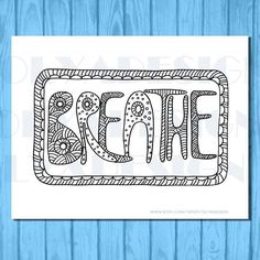 Adult coloring pages Breath doodleinstant by olyadesign on Etsy