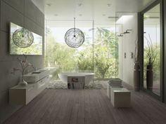 Salle de bain en harmonie avec la nature. Avec une sdb comme ca a la maison, pas besoin de se detendre dans un spa. Havre de paix a domicile! ;)