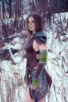 The Elder Scrolls V: Skyrim Aela the Huntress Costume, model -me Photographer - Misha Finally I did it! Aela and Snow =3 More: