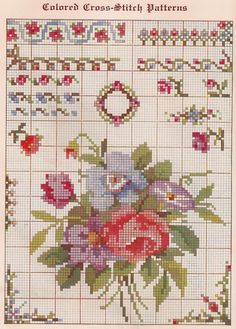 cross stitch patterns free printable | Sentimental Baby: Free Vintage Colored Cross Stitch Pattern