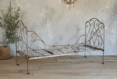 Antique French Folding Iron Campaign Bed