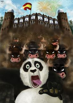 """SUBMISSION FOR DREAMWORKS FOR THE MOVIE """"KUNG FU PANDA 3""""  """"Po in Barcelona"""" 2014 Digital illustration Wacom Intuos Tablet Adobe Photoshop CS.5 A3 (42 x 29,7 cm)."""