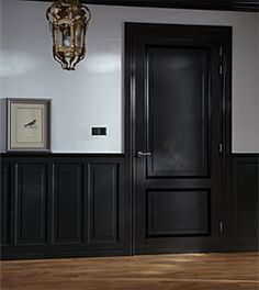 black doors interior before and after . black doors and trim . Black Interior Doors, Black Doors, Interior Trim, Black Hallway, Black Walls, White Walls, Hallway Paint, Black Wainscoting, Spanish House