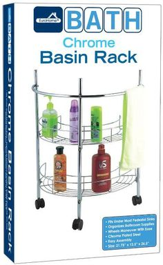 Bath Chrome Basin Rack With Wheels Case Pack 4