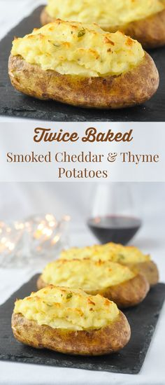 Twice Baked Potatoes with Smoked Cheddar & Thyme - baked potato stuffed with creamy mashed potatoes that have been infused with the flavours of roasted garlic, smoked cheddar and thyme. The perfect side dish for a decadent steak dinner.
