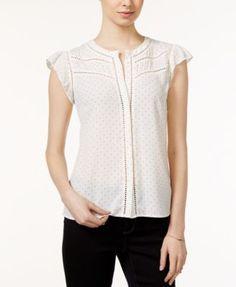 Maison Jules Polka-Dot-Print Flutter-Sleeve Blouse, Only at Macy's | macys.com