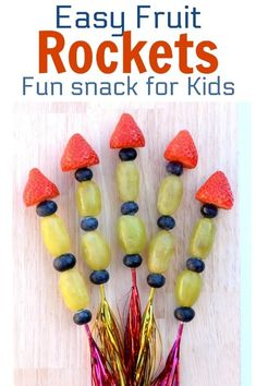 Healthy Snacks For Kids Easy Fruit Rockets recipe - Fun snack for kids that is perfect for New Years Eve parties and Bonfire Night New Years Eve Snacks, New Year's Snacks, Snacks Für Party, Good Healthy Snacks, Healthy Meals For Kids, Healthy Snacks For Kids, Easy Snacks, Kids Meals, Cheap Clean Eating