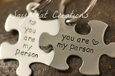 """Custom Hand Stamped Best Friends """"you are my person"""" Puzzle Piece Key Chains SET OF TWO [i might have almost started crying when i saw these. Friends In Love, Best Friends, Close Friends, Losing Your Best Friend, Puzzle Jewelry, Megan Ward, You Are My Person, Puzzle Pieces, Love Is Sweet"""