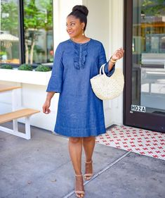 Denim Shirt Dress Outfit, Jean Dress Outfits, Jeans Dress, Chambray Dress, African Dresses For Women, African Wear, African Fashion, Simple Dresses, Casual Dresses