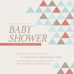 mid-century triangles by carly reed. Perfect for baby shower invitations!