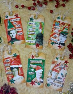 Collage Lady Christmas tags