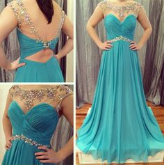 cap sleeves beaded blue chiffon long 2017 prom dress, PD9671 #fashion#promdress#eveningdress#promgowns#cocktaildress