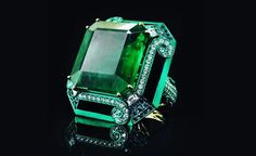 The color green isn't for everyone, but emeralds are in a class of their own. The stone's hue is unmatched, making it one of the most sought-after gemstones on the market. Emerald has c… Sparkly Jewelry, I Love Jewelry, Jewelry Rings, Fine Jewelry, Jewlery, Colombian Emerald Ring, Emerald Diamond, Emerald Rings, Emerald Green