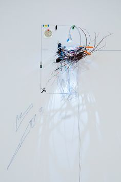 Sarah Sze- I think this looks like an artificial bird's nest, maybe the light replaces the mother to warm the eggs