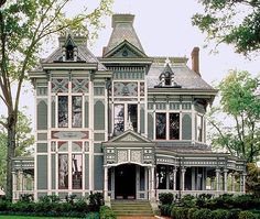 This is a wonderfully imposing house on which someone has done a marvelous paint job.  The body color is fantastic and the detail work...wow!