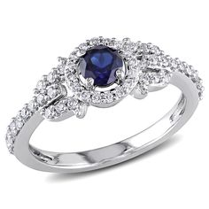 One-of-a-kind created blue sapphire and round diamond ring14-karat white gold jewelryClick here for ring sizing guide