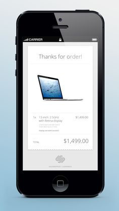 Awesome iPhone app design: order complete screen.