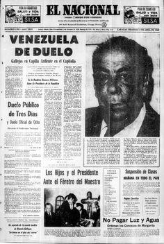 Muerte de Rómulo Gallegos. Publicado el 6 de abril de 1969.