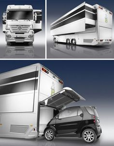 Big Rig Truck + Bus + Style = Deluxe Designer Mobile Home    The trailer portion is build like a bus, while the front looks like the driving portion of an articulated truck and the interior … well, it resembles neither in the least: a plush luxury pad you might want to live in full time instead of simply on the road