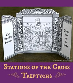 Print and color your own Stations of the Cross triptychs to help meditate on the Passion of Christ!