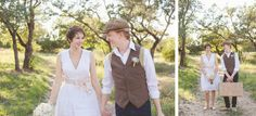 Vista West Ranch Wedding, bride and groom portraits, fun wedding photography, natural light, rustic wedding, barn wedding, austin wedding photography, short wedding dress, newsboy cap, luggage, journey