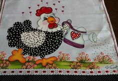 Galinha Chicken Crafts, Chicken Art, Cute Chickens, Chickens And Roosters, Applique Patterns, Applique Quilts, Painting Patterns, Fabric Painting, Vintage Embroidery