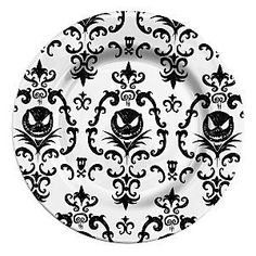 Nightmare Before Christmas Black & White Damask Jack Skellington  - Set of 4 Plates 19.99