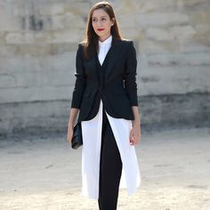 Long-line shirting makes a statement of suiting at #PFW. #StreetStyle Photograph by thestreetmuse