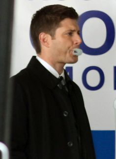 Jenson Ackles enjoyed blowing bubbles as he work on the multi-storey car park set.