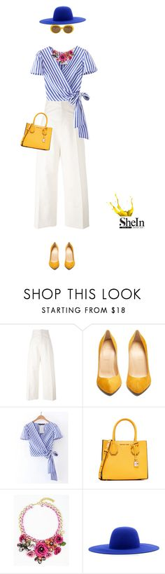 """""""Brunch Style"""" by stavrolga ❤ liked on Polyvore featuring Jacquemus, Christian Louboutin, MICHAEL Michael Kors, Études, brunch, stripedtop, marigold and brunchgoals"""