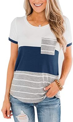 Minclouse Women's Summer Striped T Shirts Short Sleeves Color Block Tops Crew Neck Casual Basic Tees with Pocket Blue at Amazon Women's Clothing store