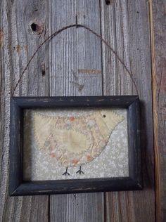 Sweet Primitive Handmade Framed Picture - Spring Chick - Spring/Easter