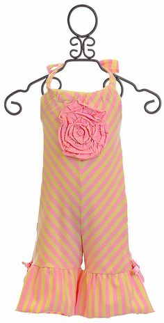 She will be one sweet lolipop in this ruffle halter romper by One Posh Kid. This fun romper has diagonal yellow and pink stripes that go vertical on the adorable ruffle bottoms bedecked with bows on e Jumpsuits For Girls, Pink Stripes, Tween, Kids Outfits, Rompers, Clothes, Dresses, Fashion, Vestidos