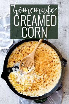Homemade creamed corn is the perfect Thanksgiving side. It's creamy comfort food at its best, and it is a side dish even the pickiest eaters will eat! || Oh So Delicioso