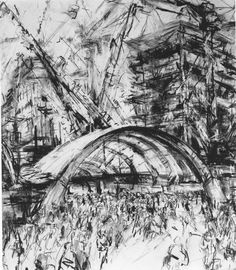 Jeanette Barns Outside Canary Wharf Station - explore ways that Man works in harmony with Machines or structures Building Drawing, Drawing Projects, A Level Art, Sense Of Place, Ways Of Seeing, Architectural Features, Art Themes, Built Environment, Environmental Art