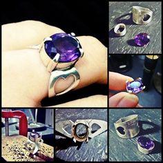 Anel Ametista com detalhe em coração - Prata 950 #joalheriaartesanal #handmade #jewerly #feitoamão #ring #anel #ametista #joiaautoral #facetedstones