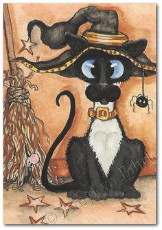 Siamese Cat Witchy Kitty Art Print or ACEO by by AmyLynBihrle