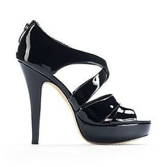 Vince Camuto Women's Melva Strappy Caged Platform Heels in Black Patent:Amazon:Shoes