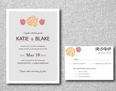 Printable Wedding Invitation  Vintage Flower by LittlePaperLantern, $25.00